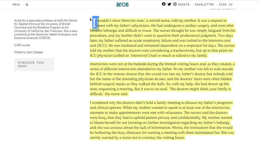صورة النص قبل التقسيم لفقرات تمهيدا للشروع في ترجمته - جزء من مقال إنجليزي.