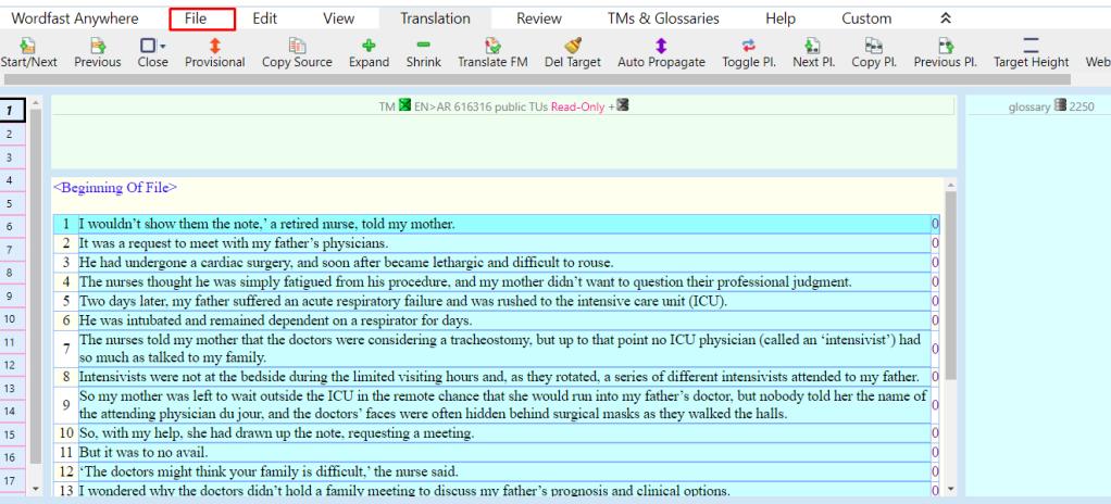 ظهور النص المراد ترجمته في برنامج وورد فاست أني وير
