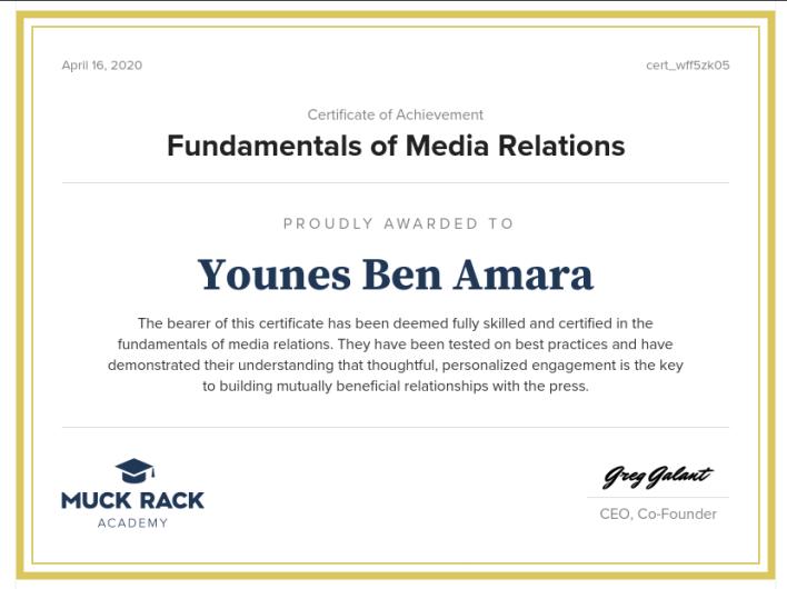 شهادة إتمام مساق أساسيات العلاقات العامة المقدم من قبل Muck Rack Academy