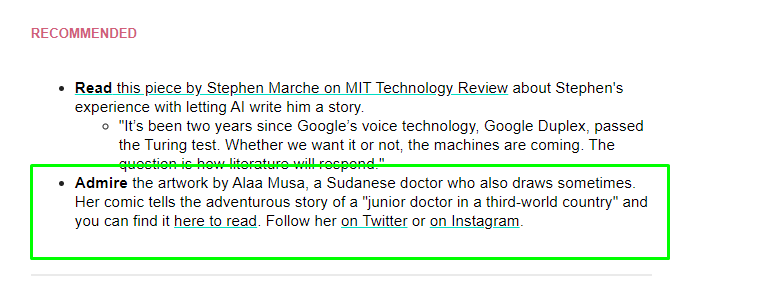 ذكر آلاء أحمد موسى في العدد 227 من النشرة البريدية what happened last week