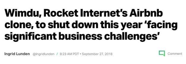 """عنوان الخبر: ويمدو، مُنتج روكيت إنترنت المُستنسخ عن Airbnb يخرج من السوق هذا العام لـ""""مواجهته عقبات تجارية كبيرة"""""""