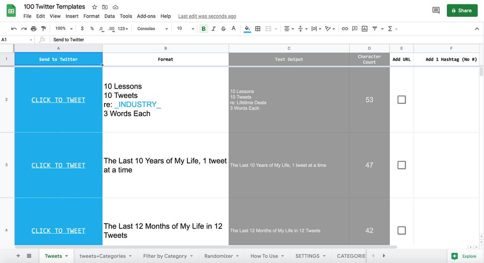 يقدم منتج 100 قالب لتويتر في جدول بيانات واحد الذي أنشئه أندرو كامفي أفكارًا كثيرة تجيب عن سؤال ماذا أنشر كتغريدة؟