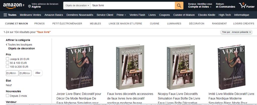 صورة شاشة لبحث عن كتب مزيفة في أمازون.
